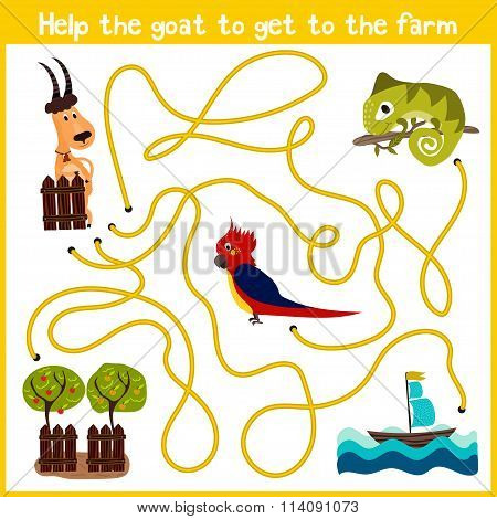 Cartoon Of Education Will Continue The Logical Way Home Of Colourful Animals.help To Get The Goat Ho
