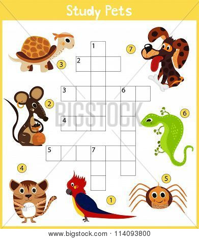 A Colorful Children's Cartoon Crossword, Education Game For Children On The Topic Of Learning Di