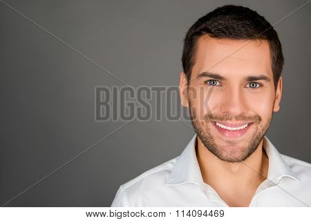 A Cheerfull Man In White Shirt