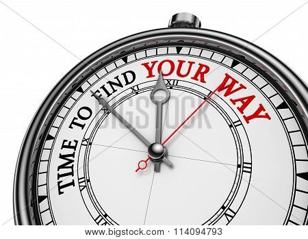 Time To Find Your Way Motivational Concept Clock