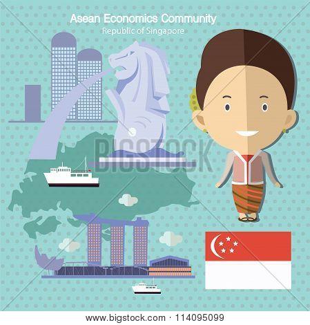 Asean Economics Community AEC Singapore eps 10 format poster