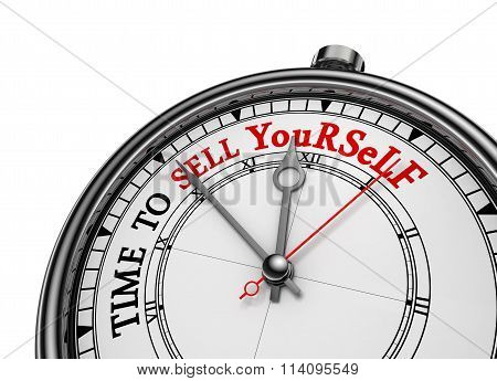 Time To Sell Yourself Motivational Concept Clock