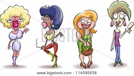 Four Caricature Ugly Woman