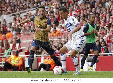 LONDON, ENGLAND - JULY 25 2015:  The Emirates cup match between Arsenal v Olympique Lyonnais at The Emirates Stadium.