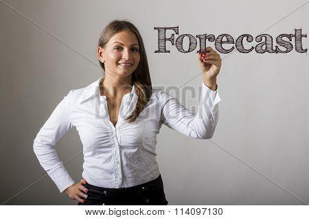 Forecast - Beautiful Girl Writing On Transparent Surface