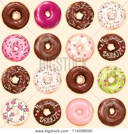 Seamless background of chocolate, pink, soft pink and green glazed donuts, vector collection of donuts illustration.