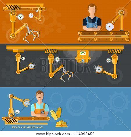 Conveyor Banners Automation Of Labor Conveyor Belt Vector