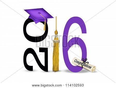 purple graduation cap for 2016