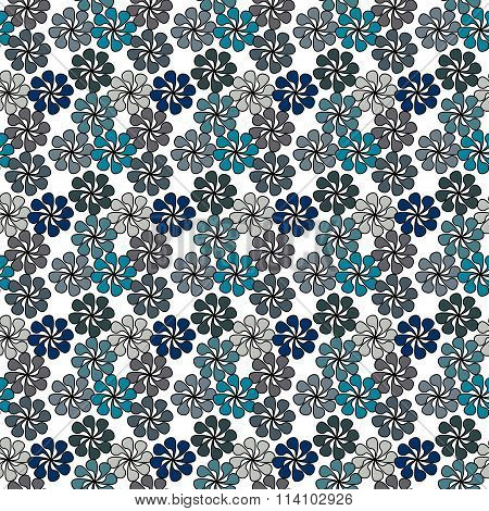 Floral Vector Illustration In Shades Of Blue On White Background.