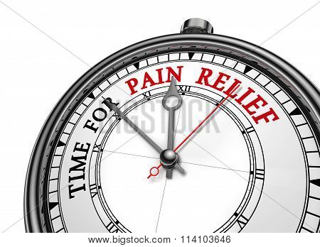 Time For Pain Relief Motivation Message On Concept Clock