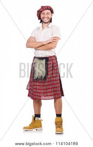 Happy Scotsman isolated on white