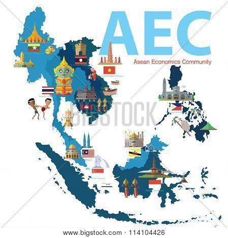Asean Economics CommunityAEC map eps 10 format poster