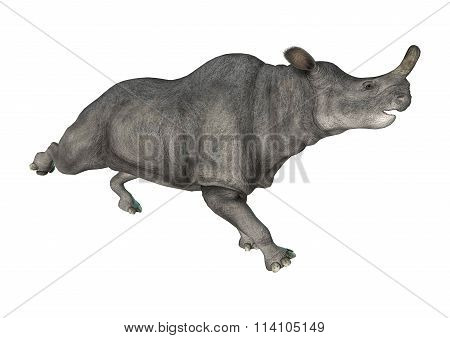 3D digital render of a Brontotherium or thunder beast isolated on white background poster