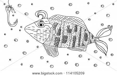 Black And White Ornament Fashion Fish Hook In The Sea With Bubbles Design Decorative Lace. Page Colo