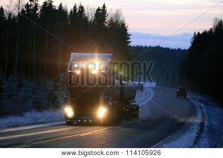 Scania Tank Truck Lights In Winter Night