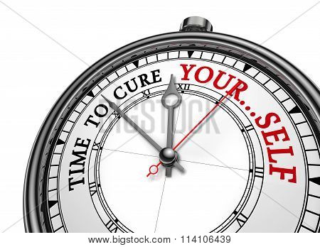 Time To Cure Yourself Motivation On Concept Clock