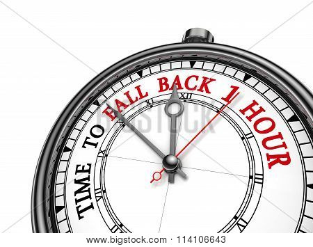 Time To Fall Back One Hour Concept Clock