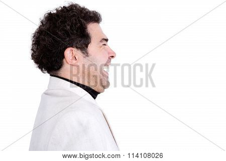 Sideways View Of Attractive Laughing Man