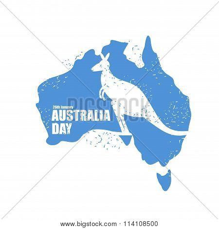 Australia Day. National Patriotic Holiday In Australia. Map Of Continent. Kangaroo Recognizable Anim