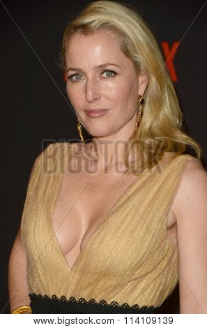 LOS ANGELES - JAN 10:  Gillian Anderson at the Weinstein Company & Netflix 2016 Golden Globe After Party at the Beverly Hilton on January 10, 2016 in Beverly Hills, CA