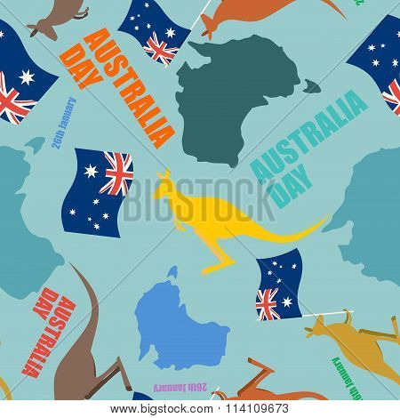 Australia Day Seamless Pattern. Festive Backdrop For National Holiday Australia. Patriotic Ornament.
