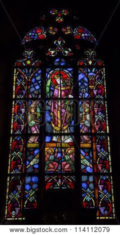 WROCLAW, POLAND - JUNE 05, 2016: Stained glass in the Cathedral of St. John the Baptist. Wroclaw. Poland