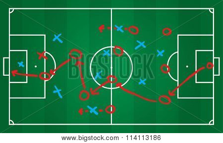 Soccer or football game strategy plan. Realistic blackboard. Vector. Sport infographics element.