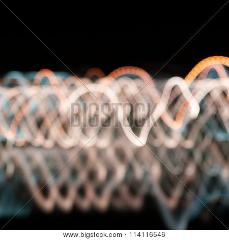 Abstract Colored Path Lights On A Dark Background