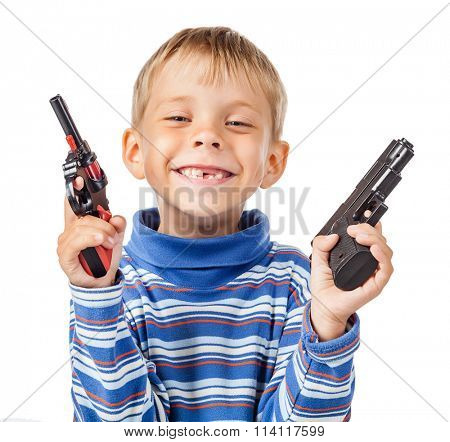 Playful Little Boy with Two Guns
