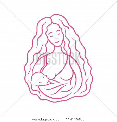 Breastfeeding graphic sign. Mother with baby on her hands.