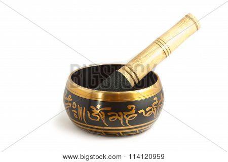 Tibetan bowl isolated on white