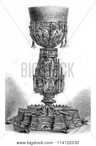 Gilt chalice chapel to Ajuda Palace, vintage engraved illustration. Magasin Pittoresque 1873.