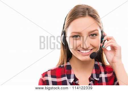 A Close-up Photo Of A Young Agent Of Call Centre