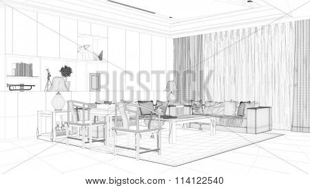 CAD wireframe mesh for room planning of living room (3D Rendering)