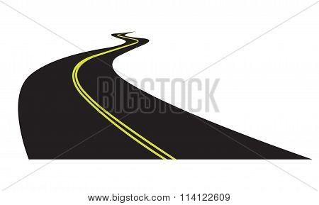 Asphalt road isolated on white background. Vector illustration of winding road.