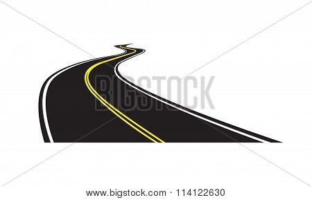 Asphalt road isolated on white background. Vector illustration of winding road.