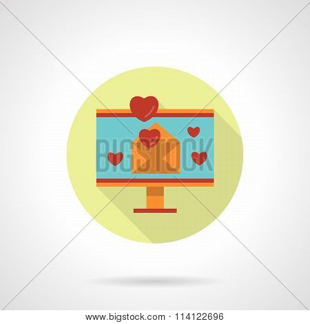 Valentines mailing vector icon flat round style