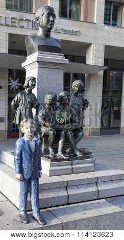 DRESDEN, GERMANY - DECEMBER 19, 2015: Photo of Monument to the choir boys. Kreuzchor.