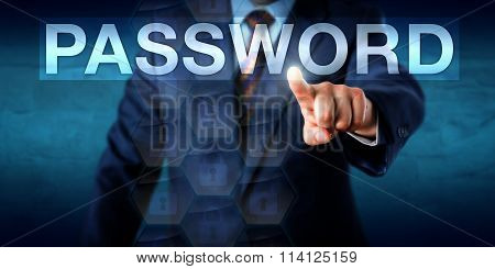 Executive Pressing A Password Text Box Onscreen