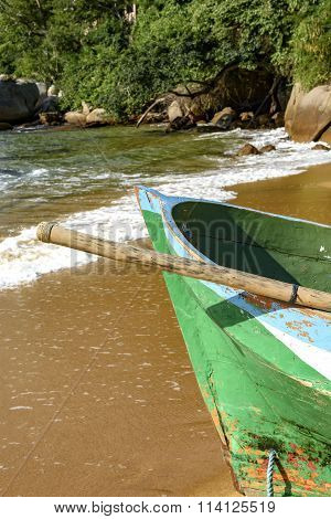 Rowing fishing boat in wood