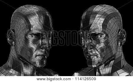 Two Robots face looking sideway through the camera