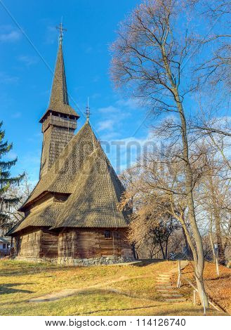 The Dragomiresti wooden church in village museum, Bucharest, Romania