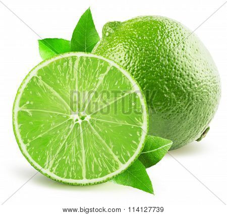 Lime With Half Of Lime Isolated On The White Background
