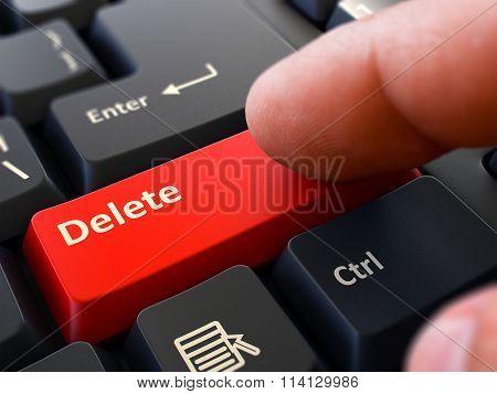 Delete - Written on Red Keyboard Key.