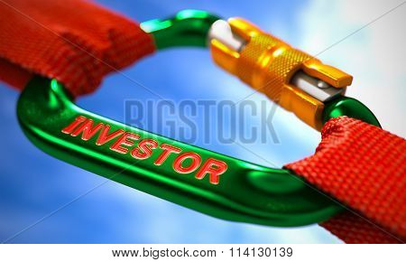 Green Carabine with Red Ropes on Sky Background, Symbolizing the Investor. Selective Focus. poster