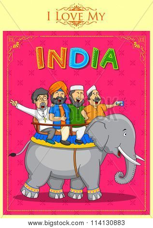 illustration of people of different religion showing Unity in Diversity of India poster