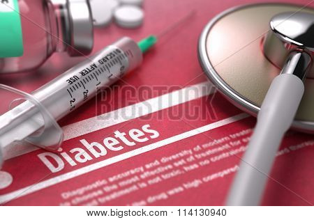 Diabetes. Medical Concept on Red Background.