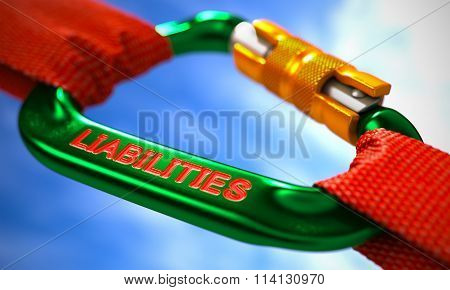 Green Carabiner Hook with Text Liabilities.