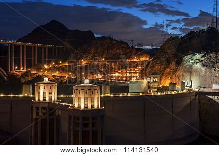 Hoover Dam At Twilight