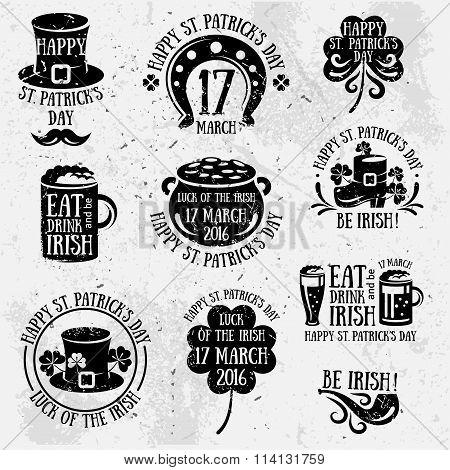 Patricks Day Typography Retro Emblems